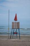 Panorama de la playa del senigallia con la presencia del lifegu Imagenes de archivo