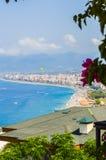 Panorama de la playa en Mahmutlar, Alanya Fotografía de archivo libre de regalías