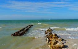 Panorama de la playa y del océano en el chelem de México Imágenes de archivo libres de regalías