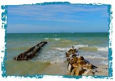 Panorama de la playa y del océano en el chelem de México Foto de archivo libre de regalías