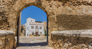 Panorama de la porte d'entrée à la place de château dans Bunol Photographie stock