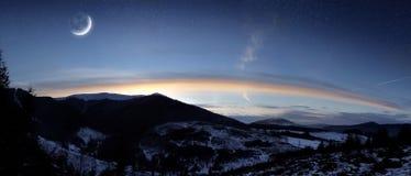 Panorama de la puesta del sol Imagen de archivo libre de regalías