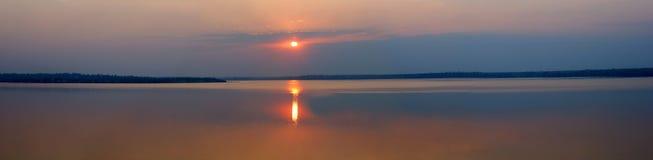 Panorama de la puesta del sol Imágenes de archivo libres de regalías