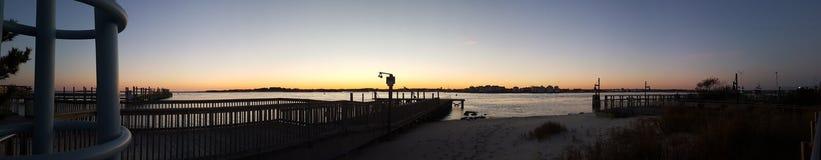 Panorama de la puesta del sol Foto de archivo libre de regalías