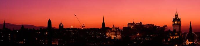 Panorama de la puesta del sol de Edimburgo Imágenes de archivo libres de regalías