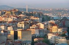 Panorama de la puesta del sol de Estambul imagen de archivo