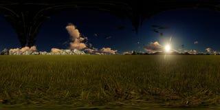 panorama de la representación 3d con las naves extranjeras del vuelo Imagenes de archivo