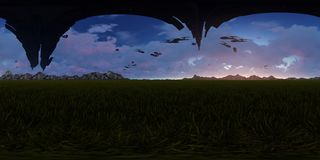 panorama de la representación 3d con las naves extranjeras del vuelo Imagen de archivo libre de regalías