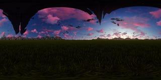 panorama de la representación 3d con las naves extranjeras del vuelo Foto de archivo libre de regalías