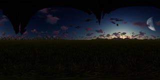 panorama de la representación 3d con las naves extranjeras del vuelo Fotografía de archivo
