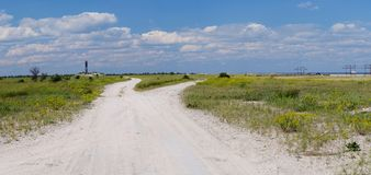 Panorama de la reserva natural de la isla de Tendra con el ligh septentrional Fotos de archivo