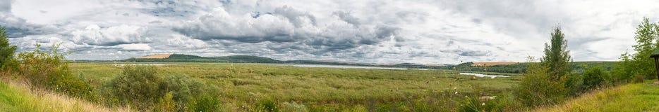Panorama de la reserva de naturaleza de Srebarna, Bulgaria foto de archivo libre de regalías