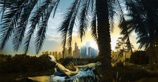 Panorama de la salida del sol de Dubai con los reptiles Imágenes de archivo libres de regalías