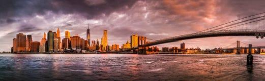 Panorama de la salida del sol de Nueva York Imágenes de archivo libres de regalías