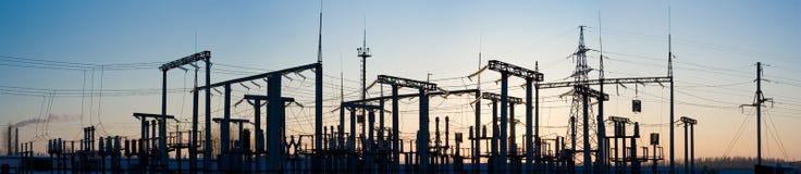 Panorama de la subestación de alto voltaje. foto de archivo libre de regalías