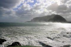 Panorama de la tormenta del mar del invierno Imagen de archivo libre de regalías
