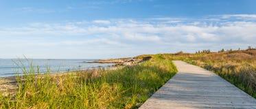 Panorama de la trayectoria de madera en la playa Fotos de archivo