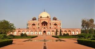 Panorama de la tumba de Humayan, Nueva Deli la India Imágenes de archivo libres de regalías
