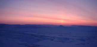 Panorama de la tundra del invierno (Siberia del norte) Fotografía de archivo