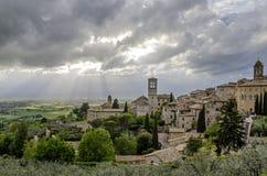 Panorama de la vallée à Assisi, Italie Photos stock