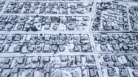 Panorama de la ville d'hiver Photographie aérienne avec le quadcopter photographie stock libre de droits