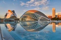Panorama de la ville des arts et des sciences complexes à Valence photos libres de droits