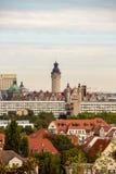 Panorama de la ville de Leipzig Allemagne avec les édifices hauts, l'hôtel de ville et les églises photo stock