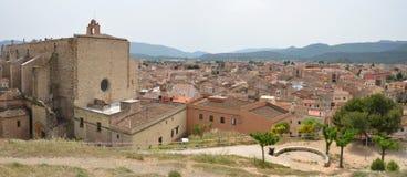 Panorama de la ville médiévale Montblanc Photo stock