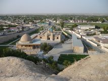 Panorama de la ville de Nurata, l'Ouzbékistan Image stock