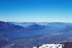 Panorama de lac Bourget dans les Frances Photo stock