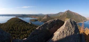 Panorama de lac Burabai Photos stock
