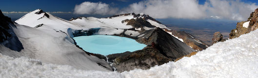 Panorama de lac crater de Ruapehu de support image stock