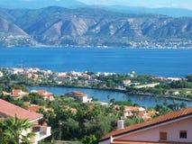 Panorama de lac et de mer Photos stock