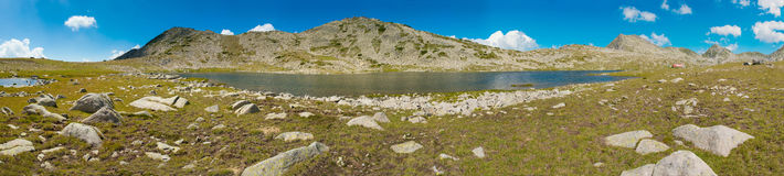 Panorama de lac Tevno Photographie stock