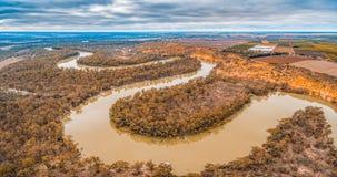 Panorama de las curvas de Murray River en Riverland imagenes de archivo
