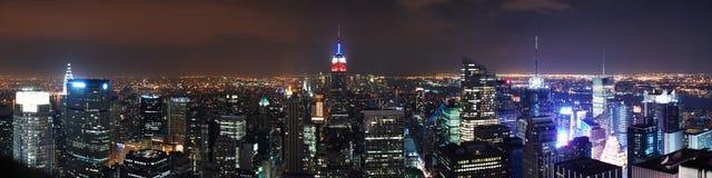 Panorama de las escenas de la noche de New York City Fotografía de archivo libre de regalías