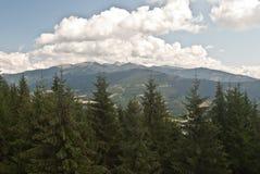 Panorama de las montañas de Tatry del puesto de observación de madera en la colina de Susava Foto de archivo