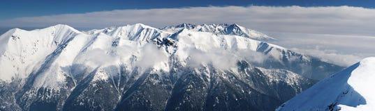 Panorama de las montañas del invierno Fotografía de archivo