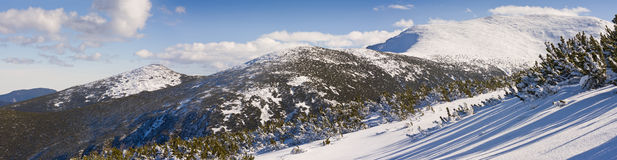 Panorama de las montañas del invierno. Bulgaria, Borovets Foto de archivo libre de regalías