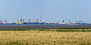 Panorama de las terminales de contenedores de Bremerhaven Foto de archivo