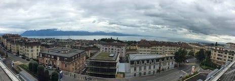 Panorama de Lausanne, Suisse Photos stock