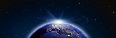 Panorama de lever de soleil de l'Europe rendu 3d Photo libre de droits