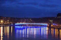 Panorama de Lieja a lo largo del río Mosa Imágenes de archivo libres de regalías