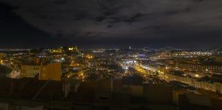 Panorama de Lisboa na noite Imagens de Stock Royalty Free