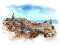 Panorama de Lisbonne, Portugal Croquis d'aquarelle illustration libre de droits