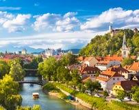 Panorama de Ljubljana, Eslovênia, Europa Foto de Stock Royalty Free