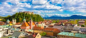 Panorama de Ljubljana, Eslovênia, Europa fotos de stock royalty free