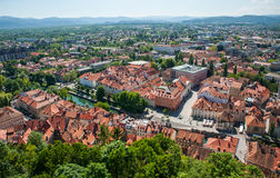 Panorama de Ljubljana, Eslovenia Fotos de archivo