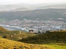Panorama de Llandudno, País de Gales, del gran parque del país de Orme Foto de archivo
