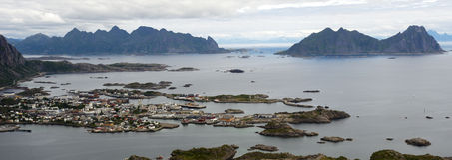 Panorama de Lofoten Fotos de Stock Royalty Free